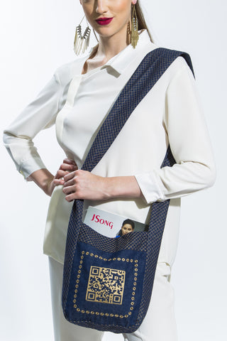Embroidered Denim & Gold QR Cross Body Shoulder Bag Style # QR101