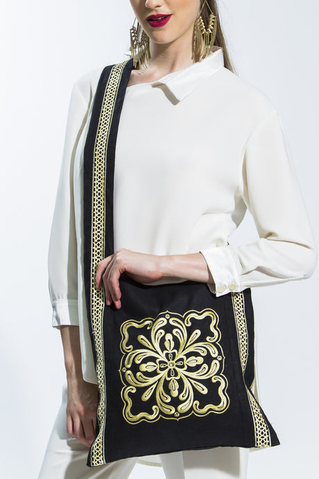 Beige & Black Embroidered Lama Shoulder Bag Style L101