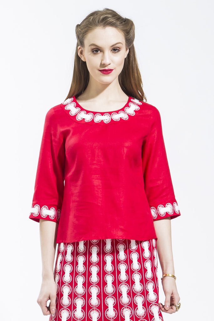 Ribbon Threaded Circle Blouse Style 1799