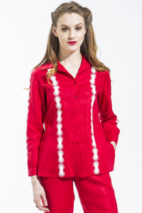 Ribbon Threaded Circle Shirt Style 1815