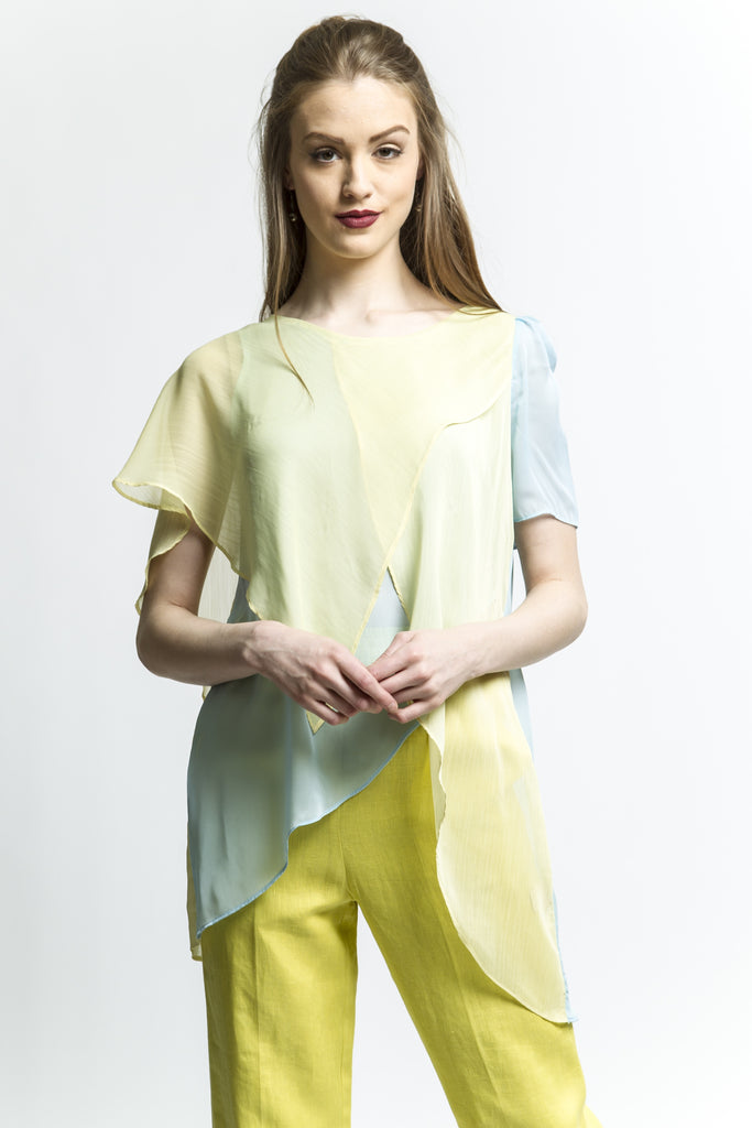 Two Tone Surplice Sheer Blouse (Leaf Green)  Style # 1711