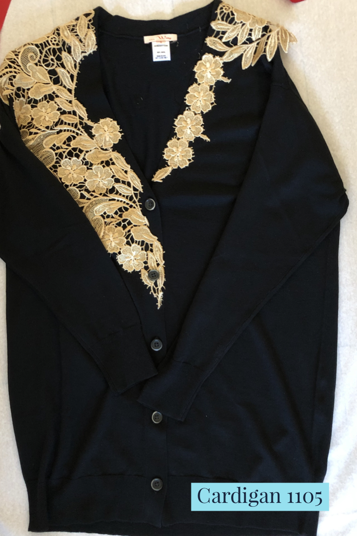 Made in NYC: Wool Cardigan with Lace Trim (Style #1105)
