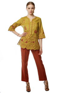 Embroidered Lotus Tunic and Pant Set (Mustard/Rust) Style # 1769P