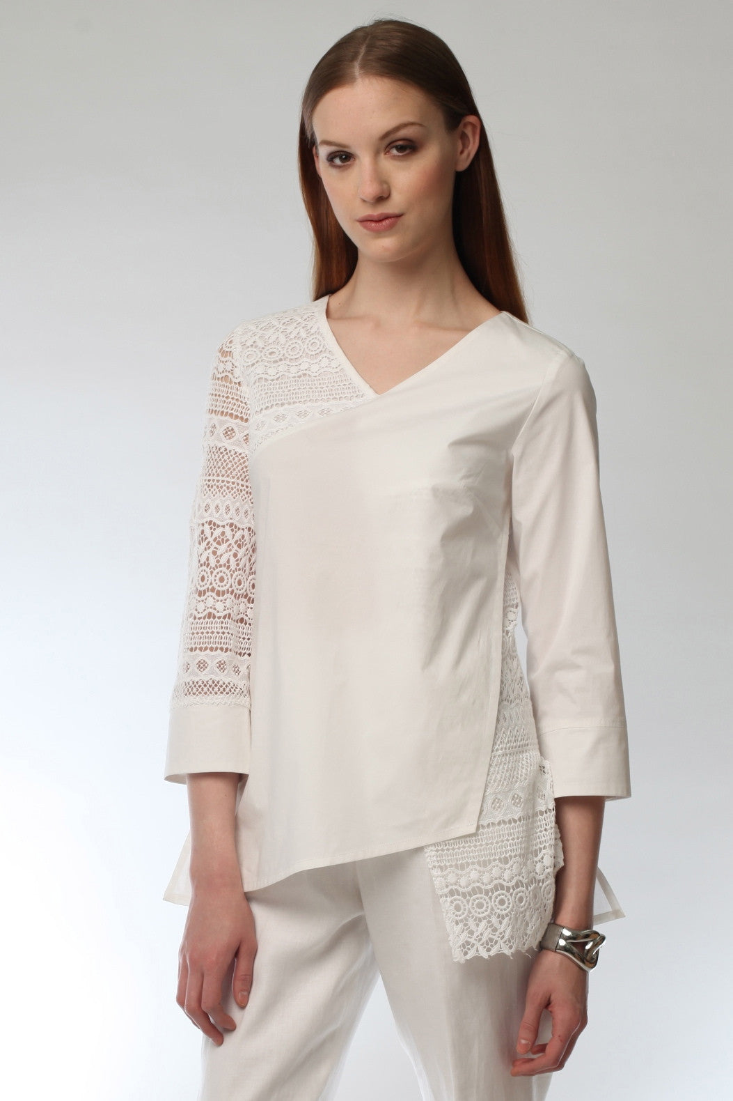 Contrast Lace Wrap Tunic Style # 1791