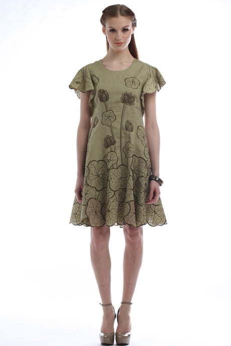 Lotus Garden Flared Khaki Dress Style 1767