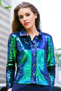 Made in NYC: Rock Star Multi-Color Sequin Crop Jacket Style #1023