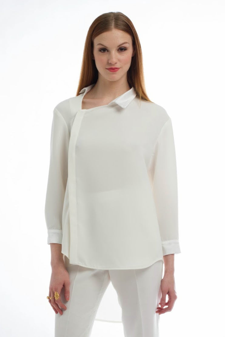 Made in NYC Asymmetric Poetic Shirt (Ivory) Style # 107