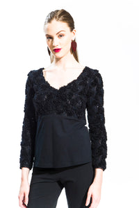 Black Lace and Floral Top Style# 10811
