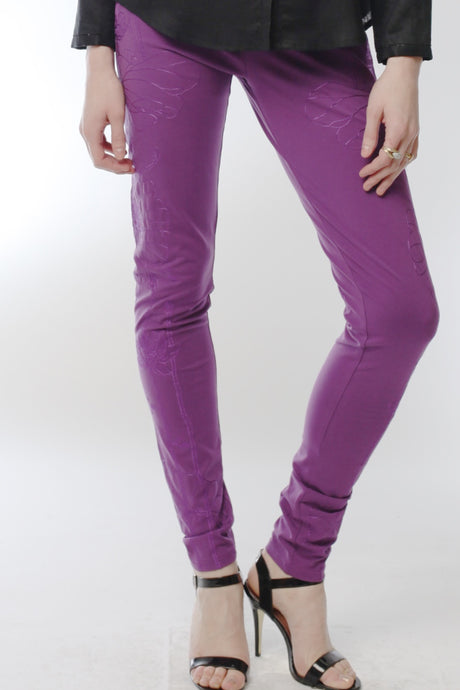 Embroidered Lotus Leggings (Purple) Style # 10819
