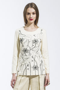Lotus Long Sleeve T Shirt (Ivory) Style 10823