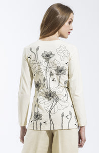 Ivory Lotus Long Sleeve T Shirt Style 10823