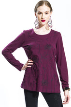 Embroidered Lotus Long Sleeve T Shirt (Purple Red) Style 10823