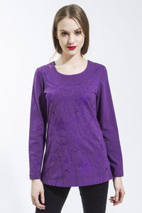 Purple Lotus Long Sleeve Tee Shirt Style 10823