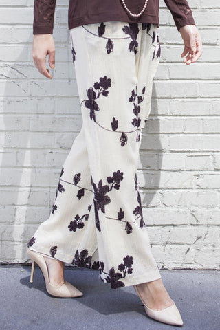 Abstract Flora Wrap Pants in White & Brown Style #1262
