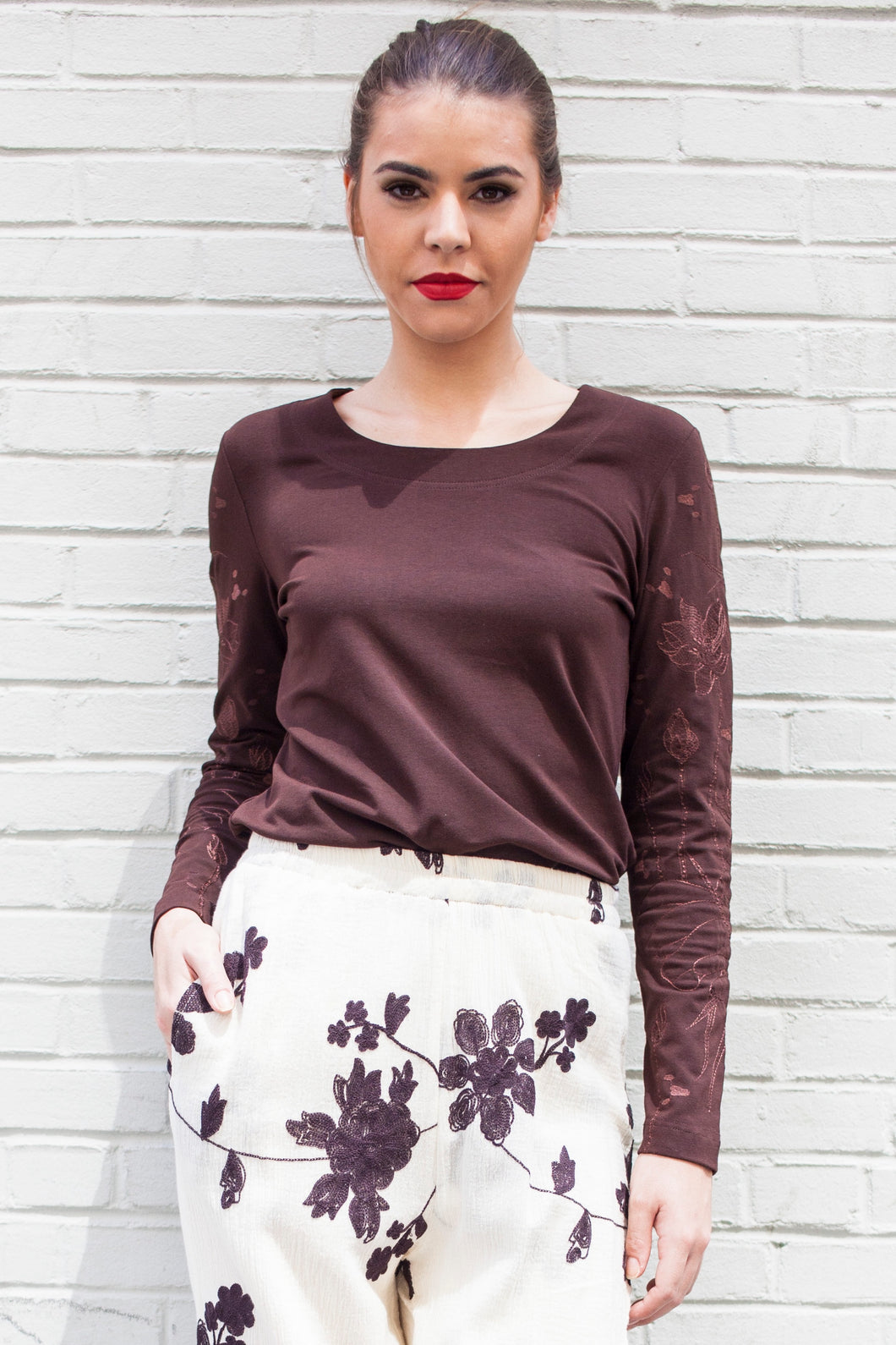 Embroidered Lotus Long Sleeve T Shirt (Brown) Style 10833