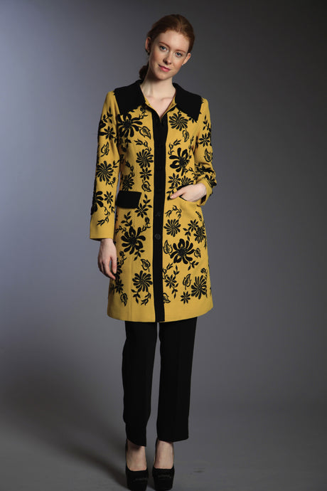 Embroidered Yellow and Black Floral Coat Style #10979