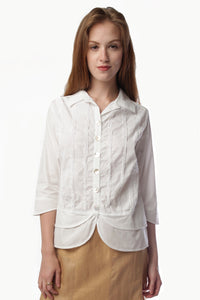 Button Down White Blouse 11181