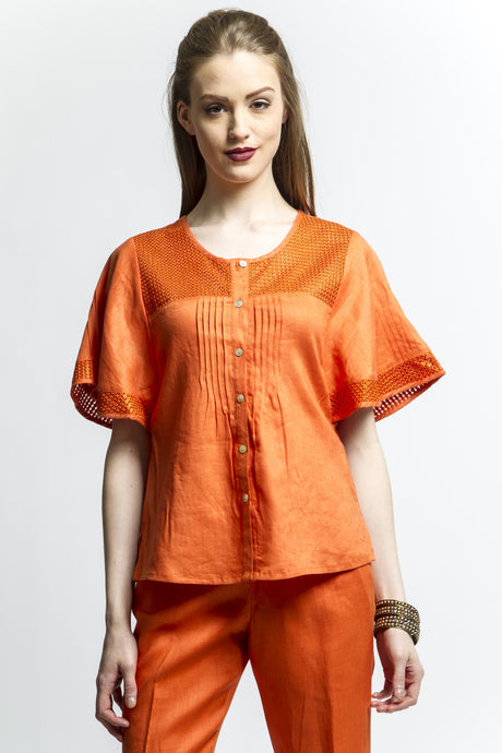 Batwing Sleeve Shirt (Orange) Style 1121