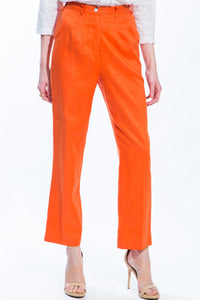 Cropped Linen Pants (Orange) Style 1150