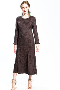 Brown Abstract Flora Dress Style # 11520B