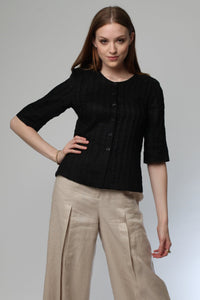Pleated Blouse (Black) Style 1201