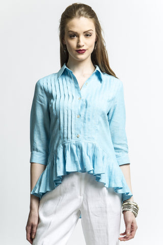 Boho High Low Pleated Shirt (Aqua) Style 1235