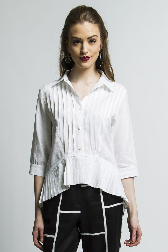 Pleated High-Low Boho White Shirt Style 1235