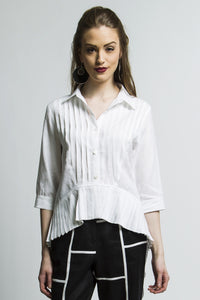 Boho High Low Pleated Shirt (White) Style 1235