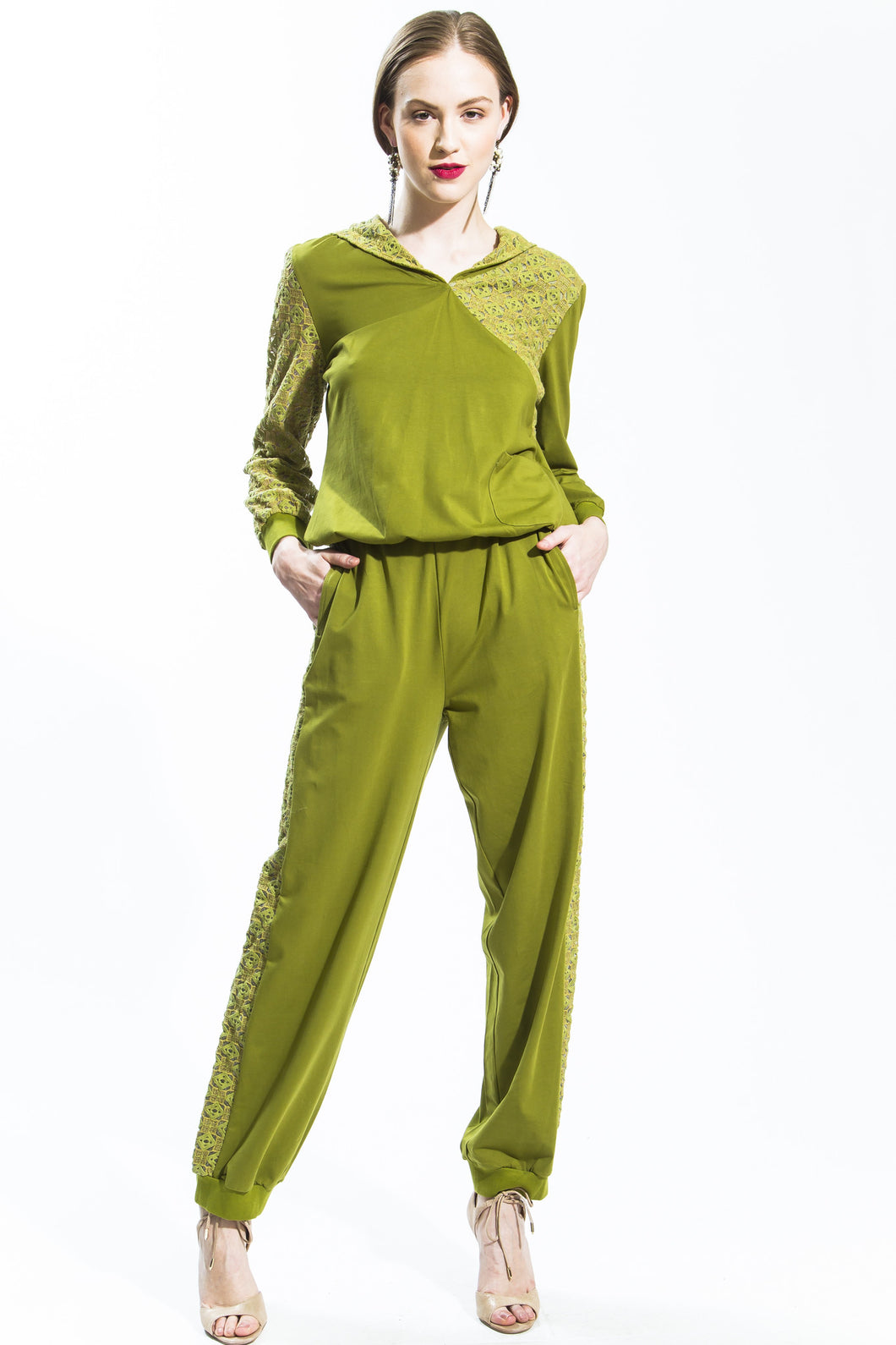 Hooded Lace Tracksuit (Green/Gold) Style # 1239P