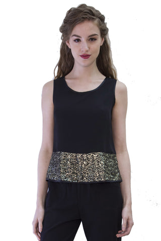 Black Gold Sequin Camisole Style 1250