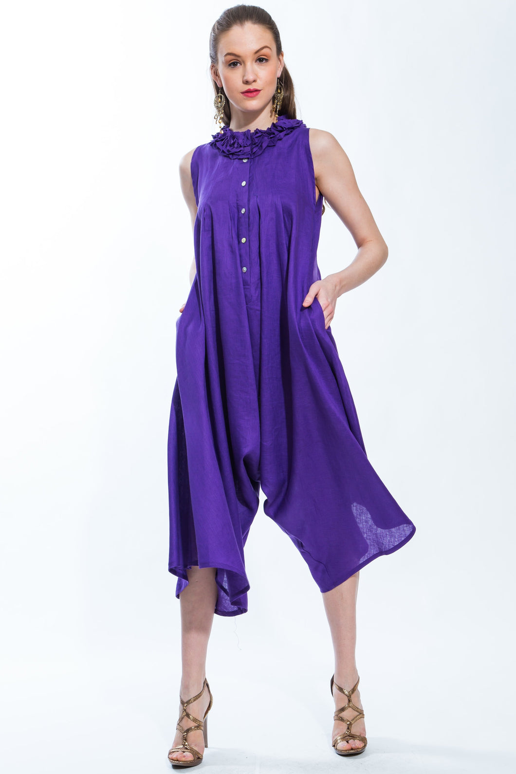 Jumpsuit Mini Ruffle (Purple) Style 1272