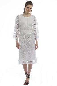 Lace Cardigan, Camisole, and Skirt Set (White)  Style # 1295CS