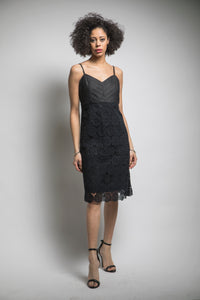 Pleated Bodice Lace Slip Dress (Black) Style# 1296