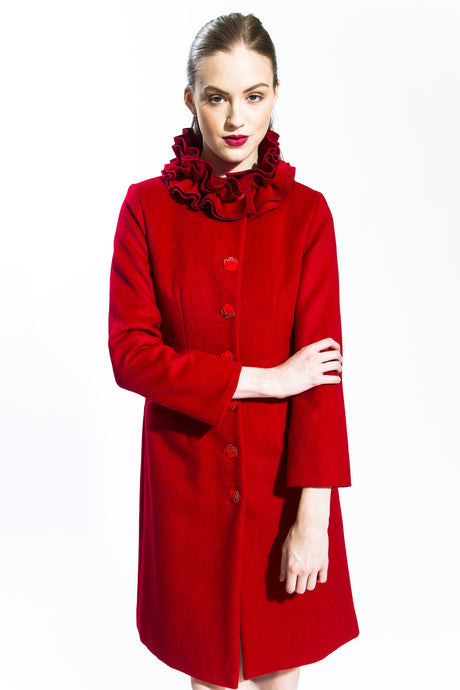 Carmine Transformable Ruffle Wool Coat Style # 141