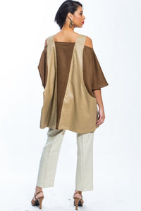 Cold Shoulder Color Block Tunic Dress (Khaki/Brown) Style 153