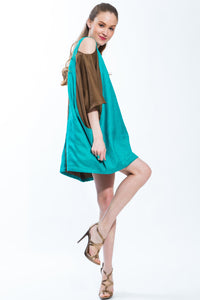 Cold Shoulder Color Block Tunic Dress (Teal/Brown) Style 153