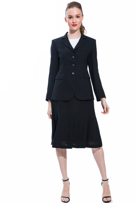 Classic Black Panel Jacket & Skirt Suit Set Style 158/159