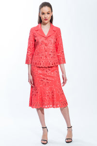2 Piece Jacket and Skirt Abstract Flora Suit (Coral) Style 1701S