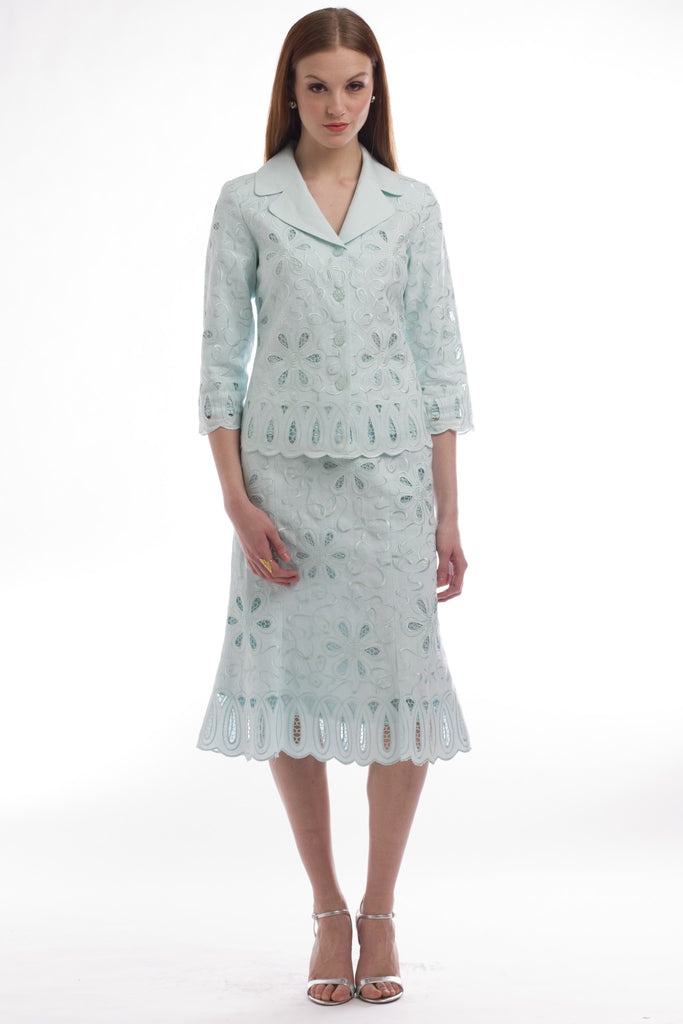 Mint Linen Embroidered Cut-out Suit Style 1701S