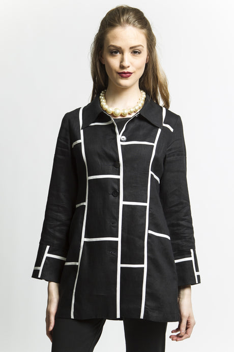 Black and White Graphic Jacket Style 1723