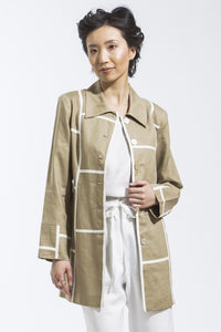 Geometric Car Coat Jacket Style 1723