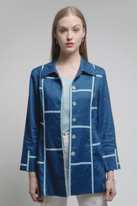 Geometric Car Coat (Navy/Ice Blue) Style 1723