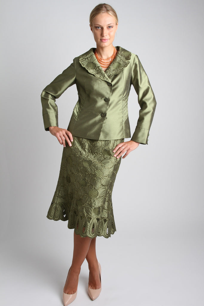 EMBROIDERED 2 PIECE SKIRT SET (OLIVE) STYLE # 1741S
