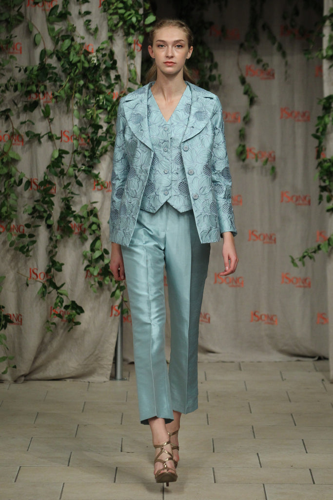 Abstract Flora 3 Piece Pant Suit (Ice Blue) Style# 1743 CP