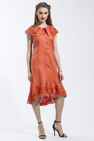 Sleeveless Flora Dress (Orange) Style 1748