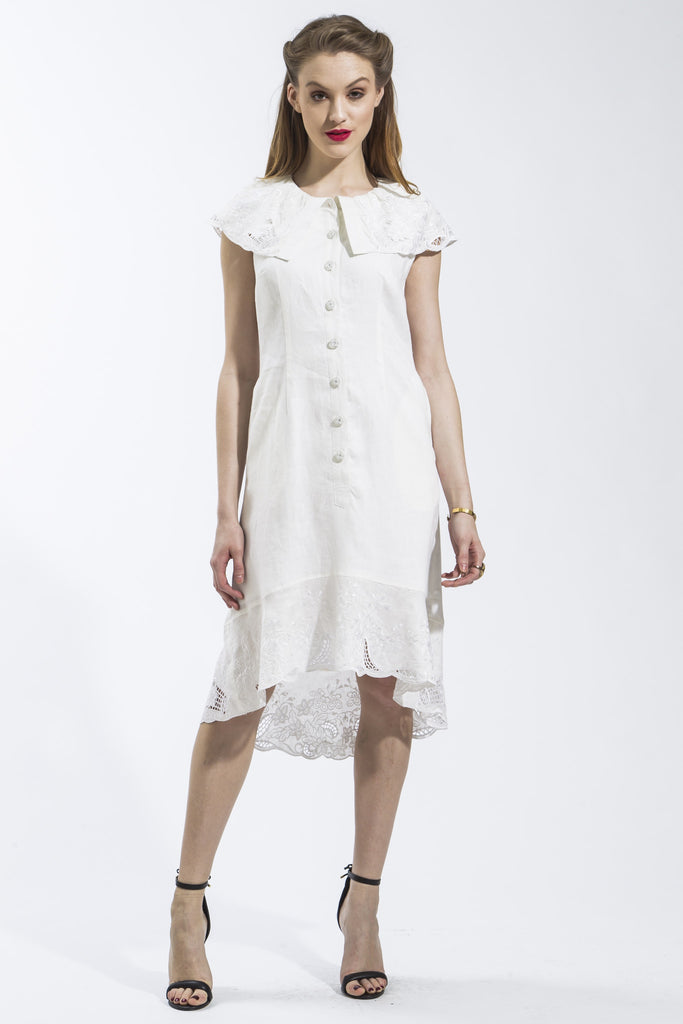 Sleeveless Flora Dress (White) Style 1748