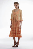 Cut-out Embroidered Cardigan & Spaghetti Strap Dress  (Maize/Orange) Style # 1751D