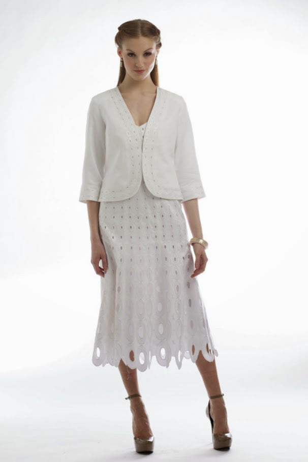 Cut-out Embroidered Cardigan & Spaghetti Strap Dress  (White) Style # 1751D