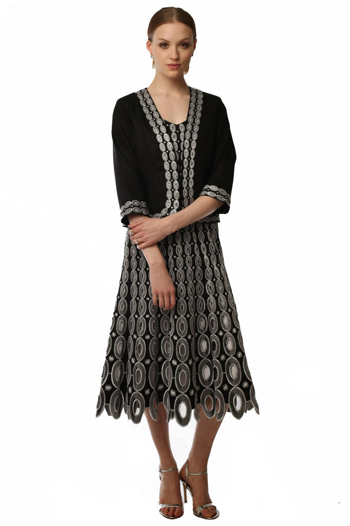 Cut-out Embroidered Cardigan & Spaghetti Strap Dress  (Black/White) Style 1751D
