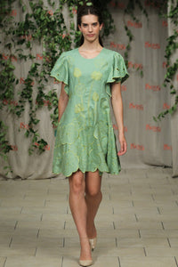 Green Bean Lotus Garden Flared Dress  Style # 1767